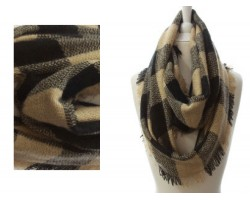 Beige Black Plaid Blanket Infinity Scarf