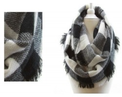 Black White Plaid Blanket Infinity Scarf