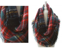 Black Red Yellow Plaid Blanket Infinity Scarf