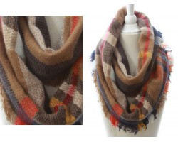 Orange Brown Beige Plaid Blanket Infinity Scarf