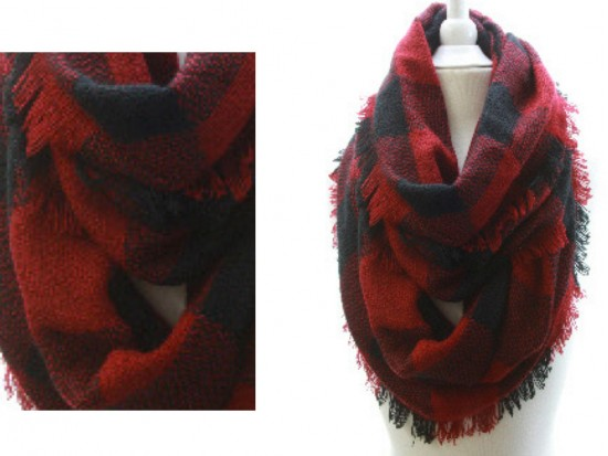 Red Black Plaid Blanket Infinity Scarf