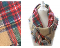 Red Beige Green Plaid Blanket Infinity Scarf