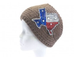 Brown Knit TEXAS Crystal Headband