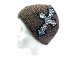 Brown Knit Crystal Cross Wrap Headband
