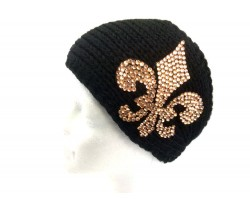 Black Knit Gold Crystal Fleur De Lis Wrap Headband