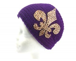 Purple Knit Gold Crystal Fleur De Lis Wrap Headband