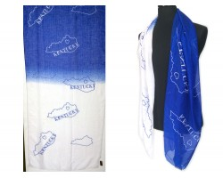 Blue White Kentucky State Map Oblong Scarf