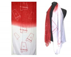Maroon White Alabama State Map Oblong Scarf