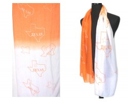 Orange White Texas State Map Oblong Scarf