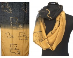 Black Gold Louisiana State Map Infinity Scarf