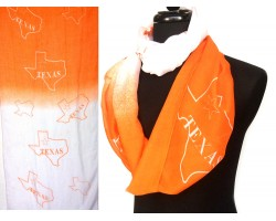 Orange White Texas State Map Infinity Scarf