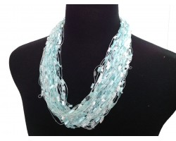 Aquamarine White Confetti Magnetic Necklace