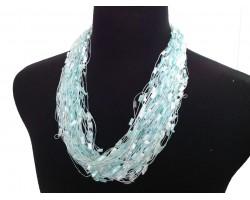 Aquamarine White Confetti Magnetic Necklace