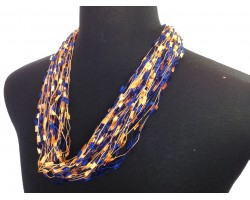 Blue Orange Confetti Magnetic Necklace
