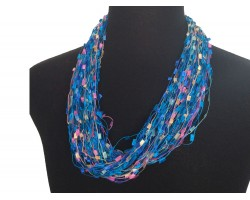 Blue Pink Confetti Magnetic Necklace