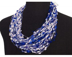 Blue White Confetti Magnetic Necklace