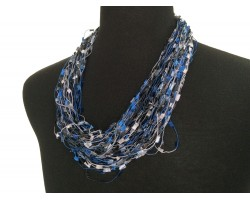 Light Blue Navy Confetti Magnetic Necklace