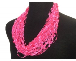 Hot Pink Confetti Magnetic Necklace