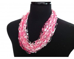 Hot Pink White Confetti Magnetic Necklace
