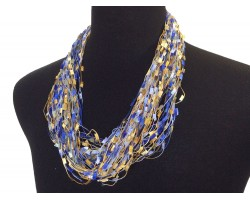 Blues Golden Brown Confetti Magnetic Necklace