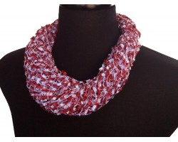 Maroon White Confetti Magnetic Necklace