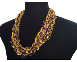 Purple Yellow Confetti Magnetic Necklace