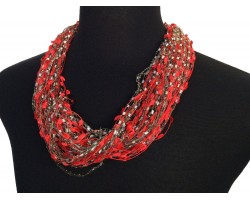 Red Gray Confetti Magnetic Necklace