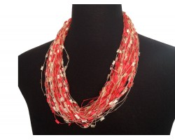 Red Beige Confetti Magnetic Necklace