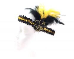 Black Gold Feather Fleur De Lis Sequin Headband
