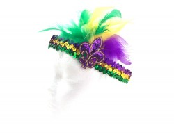 Mardi Gras Feather Fleur De Lis Sequin Headband