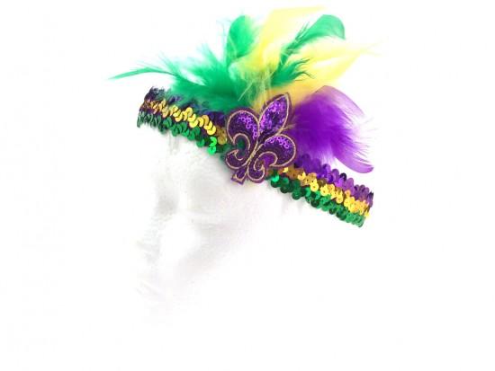 Mardi Gras Feather Fleur De Lis Sequin Headband