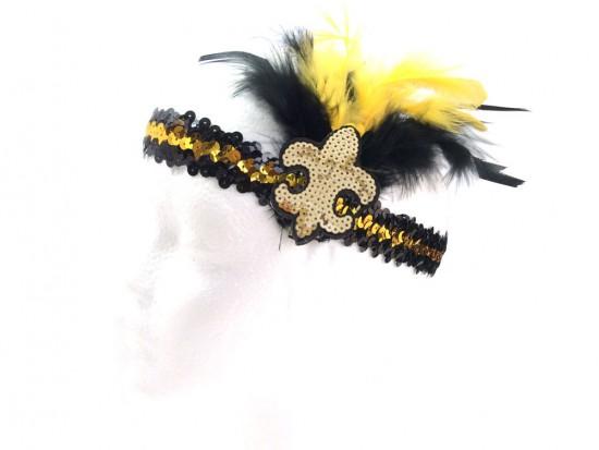 Black Gold Feather Gold Fleur De Lis Sequin Headband