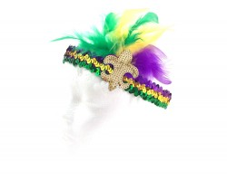 Mardi Gras Feather Gold Fleur De Lis Sequin Headband