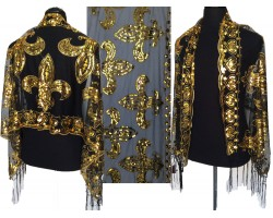 Black Gold Sequin Fleur de Lis Fringe Oblong Scarf