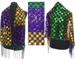 Mardi Gras Sequin Checker Fringe Oblong Scarf