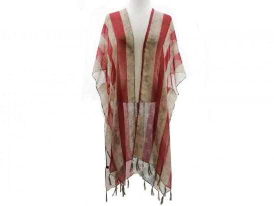 USA Distressed Flag Tassel Kimono