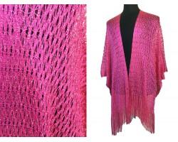 Hot Pink Shimmer Diamond Open Weave Fringed Kimono