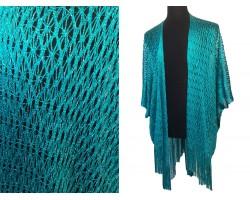 Teal Shimmer Diamond Open Weave Fringed Kimono