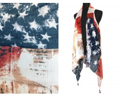 USA Flag Distressed Tassel Sleeveless Cardigan