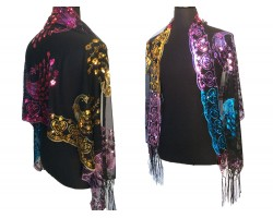 Dark Multi Sequin Peacock Fringe Oblong Scarf