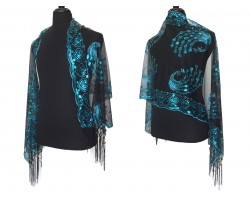 Turquoise Sequin Peacock Fringe Oblong Scarf