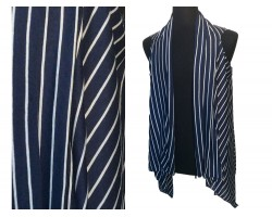 Navy White Stripes Sleeveless Jersey Knit Cardigan