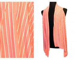 Peach White Stripes Sleeveless Jersey Knit Cardigan