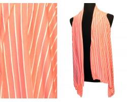 Peach White Stripes Sleeveless Jersey Knit Cardigan