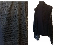 Black Open Cut Ovals Lace Cut Out Sleeves Cardigan