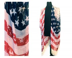 Red White Blue USA Flag White Fringed Poncho