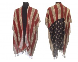 Red White Blue Distressed USA Flag Tassel Poncho