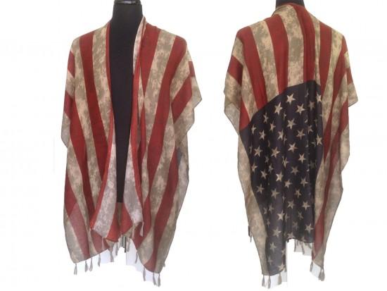Red White Blue Distressed USA Flag Tassel Poncho