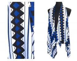 Blue Black Diamond Striped Sleeve Cardigan