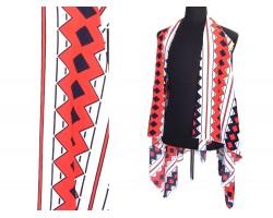 Red Black Diamond Striped Sleeve Cardigan